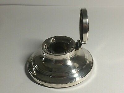 Antique 925,Sterling Silver Small Capstan Inkwell, Birmingham 1913, 48,Grams,