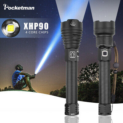 95000LM XHP70 XHP90 LED Flashlight Rechargeable 3Modes Zoom Tactical Torch 18650