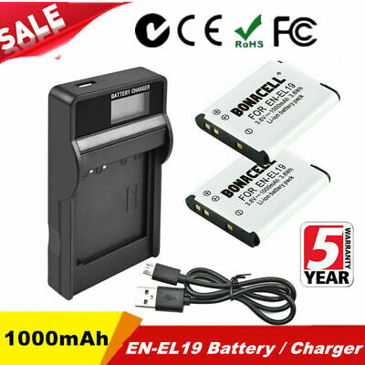 2X EN-EL19 Battery / LCD Charger For Nikon Coolpix S32 S2750 S2900 S3100 Camera