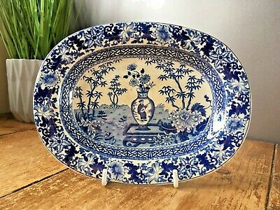 Antique Wedgwood Blue & White Bamboo Chinese Vase Miniature Platter Under Plate