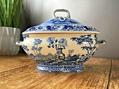 RARE ANTIQUE c1820 WEDGWOOD BLUE & WHITE BAMBOO CHINESE VASE SAUCE GRAVY TUREEN