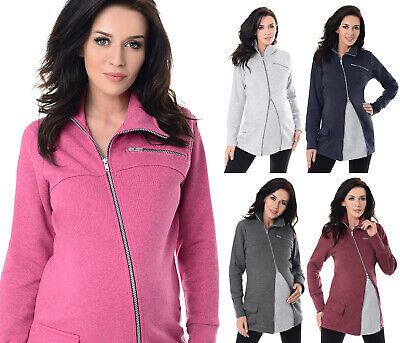 Purpless Maternity Across Body Zips Adjustable Maternity Sweatshirt Hoodie 9055