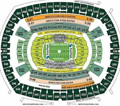 4 Tickets New York Giants Vs. Philadelphia Eagles With Parking 12/29/19 1:00 PM