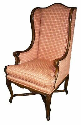 Vintage French Country Style Carved Wood Wing Back Chair