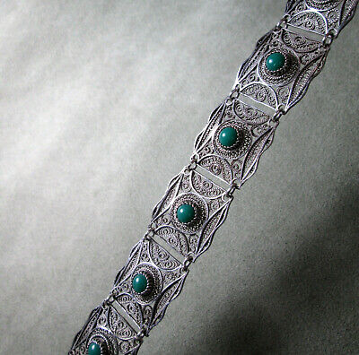 Sterling Silver Cuff Bracelet Green Turquoise Persian Filigree 800 Silver Detail