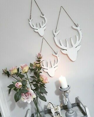White Distressed Hand Carved Christmas Stag Hanging Wall Christmas Decoration