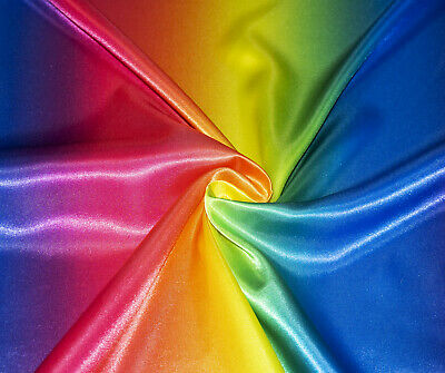 Rainbow Multi Luxury Silky Satin Dress Craft Fabric Wedding Material 150cm Wide