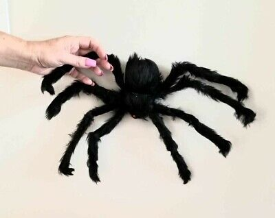 Halloween 2' Foot Black Huge Hairy Spider Giant Haunt Prop Decoration