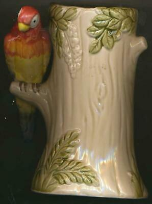 """Otagiri Vintage Hand Painted Ceramic Parrot In Tree Piggy Bank 1980 5"""" Tall"""