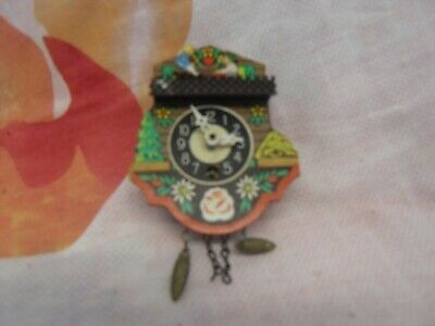 Retro Wooden Cuckoo Clock 11Cm X 11Cm Vintage Working German Acorn Weights