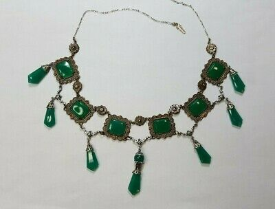 Antique Chrysoprase Art Deco Elaborate Necklace Silver Plate and Dangling Gems