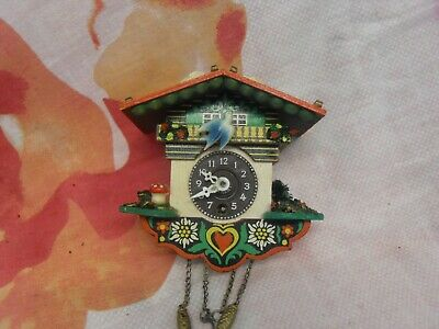 Retro Wooden Cuckoo Clock 11Cm X 11Cm Vintage Working German H Kammerer