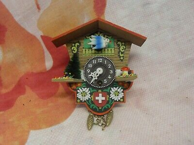 Retro Wooden Cuckoo Clock 12Cm X 11Cm Vintage Working German H Kammerer
