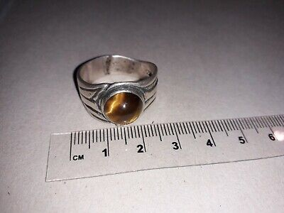 UNIQUE 925 HUGE tiger's eye cabochon ring - gothic / medieval style - VGC - B