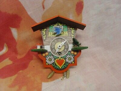 Retro Wooden Cuckoo Clock 13Cm X 11Cm Vintage Working German H Kammerer