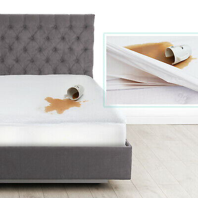Cotton Terry Hypoallergenic Mattress Protector 100% Waterproof Fitted Cover Pad