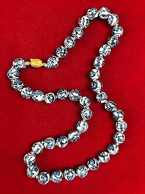 """Vintage Chinese Blue and White Porcelain Beaded Necklace Hand Knotted 24"""" Fish"""