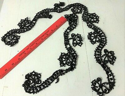 Antique Victorian Jet Black glass beaded trim for a dress or coat