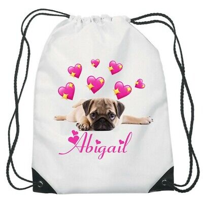 Personalised Girls Boys Space Pug Funny Cute Sport Gym School PE Swim Dance Bag!