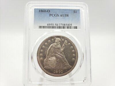 1860-O PCGS AU58 Seated Liberty Silver Dollar **STUNNING!! HIGHLY REFLECTIVE!!**