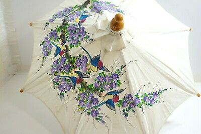 "Vintage Asian Hand Painted Flowers Birds In Thailand Umbrella Parasol 28"" Long"