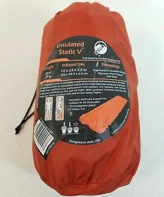 KLYMIT INSULATED Static V Lightweight Sleeping CAMPING Pad Orange Hiking Camping