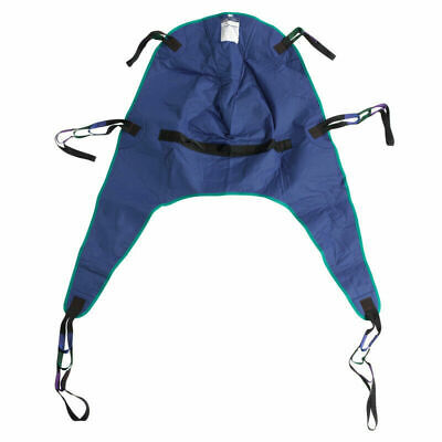 Drive Medical #13262m Divided Leg Patient Lift Sling with Headrest, Blue, size M