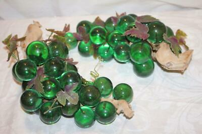 Mid Century Modern GREEN  LUCITE GRAPES CLUSTERS on Driftwood EXC CONDITION!