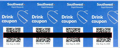 Southwest Airlines Drink Coupons (4) EXP August 31, 2020