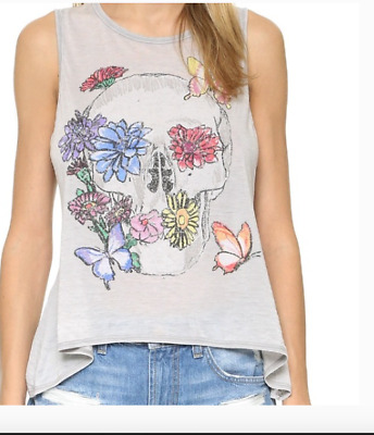 Chaser NWT Women/'s M Blue Floral Cotton Blend Crop Tank Top