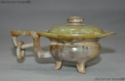 """6""""China Hetian jade Carved Han dynasty beast face handle Wine tea cup container"""