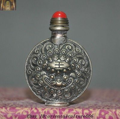 """2""""Collect Chinese Old Tibetan Silver Beast Tiger Head Statue snuff bottle"""