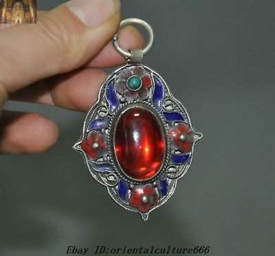 Collect Exquisite China Tibetan Silver Cloisonne inlay Red Gem necklace Pendant