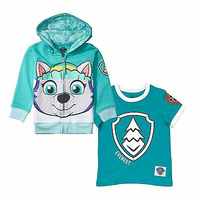 Paw Patrol Character Girls' Big Face 2 Pack Zip-up Hoodie and Badge