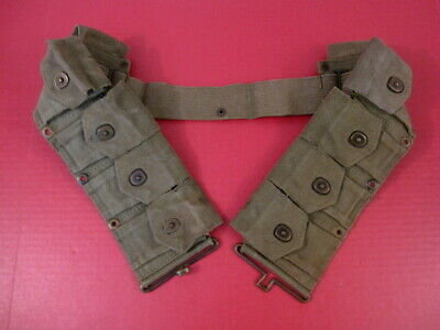 WWII US Army Dismounted M1923 Ammunition Cartridge Belt - M1 Garand - OD Green 3
