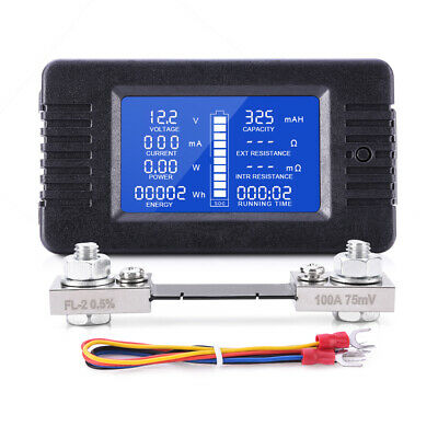 0-200V LCD Display DC Battery Monitor Voltmeter Current Tester for RV Solar Car