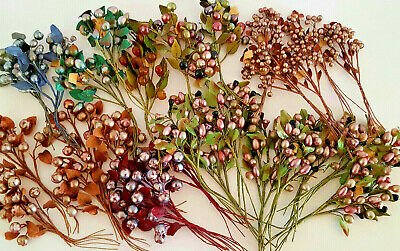 Antique Lot 30 German Millinary Berries Stems New Old Stock STUNNING!