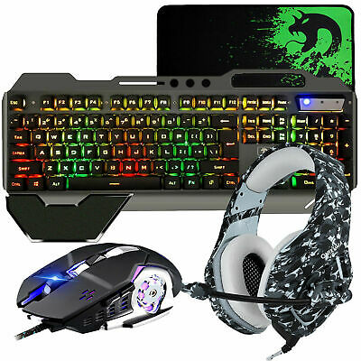 Gaming Combo Gaming Keyboard Mouse and Headset For PS4 Mechanical Feel RGB AU