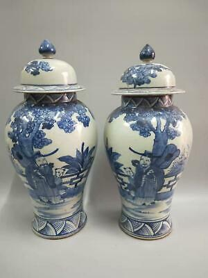 2 x Chinese Antiques Blue And White Porcelain Landscape Vases With Cover Marks
