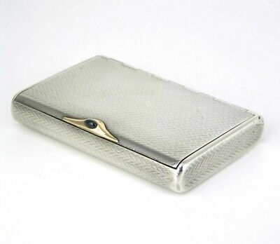 Antique Imperial Russian Solid Silver Case Box with Sapphire Clasp Russia 1910