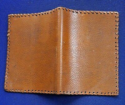 Vintage handmade leather book cover natural textured thick leather brown