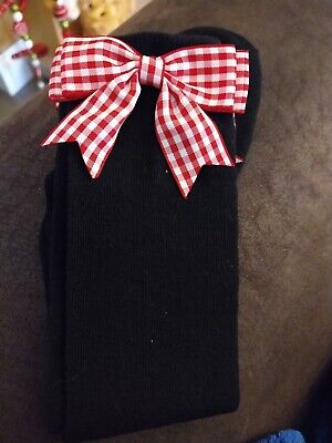 Black Girls Knee High School Socks With Red Check Gingham Bows ANY SIZE