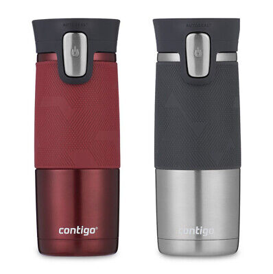 Contigo Autoseal Spill-proof Thermal Travel Mugs, 2 Pack in Red & Grey | NEW