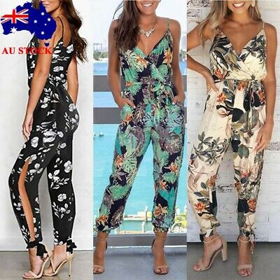 AU Boho Women Strappy Floral V Neck Jumpsuit Playsuit Ladies Summer Beach Romper