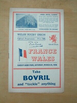 France v Wales Rugby Programme Saturday, March 25th, 1950.