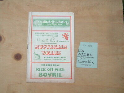 Australia v Wales Rugby Programme Saturday, December 20th, 1947.