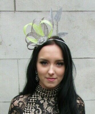 Grey Citrus Lime Green - Yellow Silver Fascinator Feather Sinamay Hair Race 7455