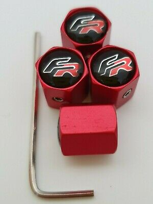 SEAT FR Matte Red DUST VALVE CAPS Anti Theft Prevents Theft Other Colours LEON