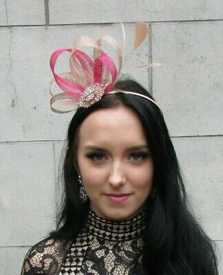 Nude Cerise Hot Pink Rose Gold Sinamay Feather Hair Fascinator Races Beige 7466