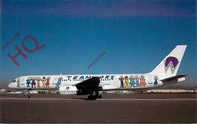 Postcard:;AWA AMERICA WEST AIRLINES (TEAMWORK LIVERY) BOEING 757-200 N902AW